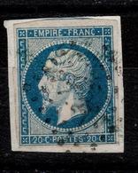"YV 14A Oblitere Avec Griffe Bleue ""Of..."" à Identifier , 4 Marges , Sur Support , 1 Voisin - 1853-1860 Napoleon III"