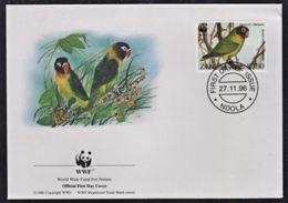 Ca0217 ZAMBIA 1996, SG 755 Black-cheeked Lovebird FDC (birds) - Zambie (1965-...)