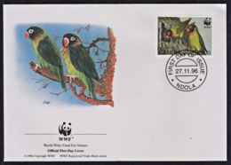 Ca0218 ZAMBIA 1996, SG 756 Black-cheeked Lovebirds FDC (birds) - Zambia (1965-...)