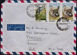 Ca5143 ZAMBIA 1993, Bird Stamps On Chingola Cover To UK - Zambie (1965-...)
