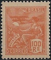 """BRAZIL - DEFINITIVES """"VOVÓ"""" (100 RÉIS, ORANGE, AVIATION) 1922 - MNH - Brazil"""