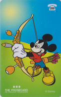 Télécarte Prépayée Belgique - DISNEY - MICKEY Tir à L'arc - ARCHERY Prepaid Phonecard - Disney