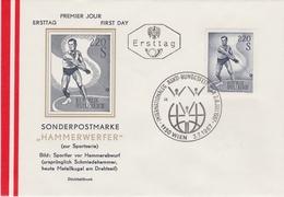 SPORT ATHLETICS ATHLÉTISME DIE LEICHTATHLETIK - AUSTRIA 1967 FDC HAMMERWERFER HAMMER  Mi 1242 - Athletics