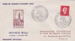 TOUR DE FRANCE CYCLISTE 1954, TOULOUSE~MILLAU ENVELOPPE OFFICIELLE. STAMP A PAIR -RARE - BLEUP - Cycling