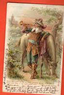 TRM-39 Sentinelle  Jouant Du Clairon Et Son Cheval.  ANIME. Circulé 1904, Refiel, Gaufré. Précurseur - Fêtes - Voeux