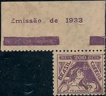 """BRAZIL - DEFINITIVES """"VOVÓ"""" (200 RÉIS, DARK VIOLET, FAITH AND ENERGY) 1933 - MNH - Brazil"""