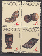 1991 Angola Musical Instruments Bock Of 4 Complete MNH - Angola