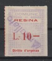 Resina. Marca Municipale Diritti D' Urgenza L. 10 - Italia