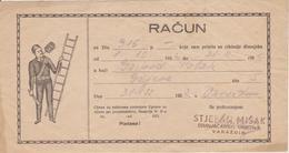 CROATIA  --  VARAZDIN  --  FACTURE, INVOICE,  RACUN  ~  1952  --  STJEPAN MISAK  --  DIMNJACAR, MONEUR, CHIMNEY SWEEP - Factures & Documents Commerciaux