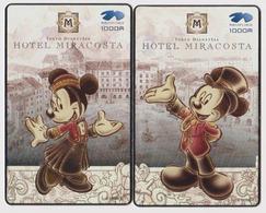 RARE PUZZLE 2 TC Prépayées Japon MINT - DOCOMO - DISNEY SEA - HOTEL MIRA COSTA - Japan Prepaid Mobile Phonecards - Disney