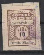 Roccarainola. Marca Municipale Diritti Rimborso Stampe L. 10, Su Frammento - Italia
