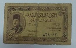 Egypt 5 Piasters King Farouq 1940 - Egypte
