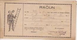 CROATIA  --  VARAZDIN  --  FACTURE, INVOICE,  RACUN  ~  1953  --  STJEPAN MISAK  --  DIMNJACAR, MONEUR, CHIMNEY SWEEP - Facturen & Commerciële Documenten