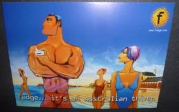 Carte Postale - Fudge... It's An Australian Thing. (cosmétique) (3 Femmes Et Un Homme Sur Une Plage) - Publicité