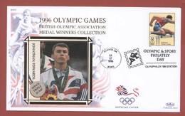 SPORT ATHLETICS DIE LEICHTATHLETIK ATHLÉTISME USA 1996 OLYMPIC GAMES BRITISH MEDAL WINNER JONATHAN EDWARDS  ON CACHET - Swimming