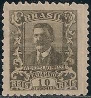 BRAZIL - OFFICIAL: WENCESLAU BRAZ (10 RÉIS, OLIVE BROWN) 1919 - MH - Officials