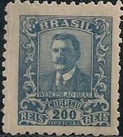 BRAZIL - OFFICIAL: WENCESLAU BRAZ (200 RÉIS, BLUE) 1919 - MH - Officials