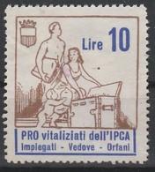 Erinofilo. Pro Vitalizi Dell' IPCA L. 10 - Italia
