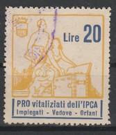 Erinofilo. Pro Vitalizi Dell' IPCA L. 20 - Italia