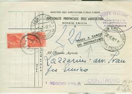 SIRACUSANA S.£.10X2-uso Tasse-C.P.MINISTERO TASSA A CARICO,(T.S.tassa Semplice),1955,POSTE REGGIO EMILIA,CASTELLARANO, - 6. 1946-.. Repubblica