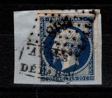 """YV 14A Cachet """" Apres Le Depart """" Et PC 1818 , Bleu Tres Foncé, 4 Marges (filet Sud Est), Sur Fragment - 1853-1860 Napoleone III"""