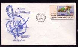 ATHLETICS DIE LEICHTATHLETIK ATHLÉTISME OLYMPIC  GAMES USA 1979 HIGH JUMP FDC - Athletics