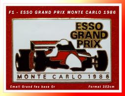 SUPER PIN'S F1 - ESSO GRAND PRIX : GRAND PRIX MONTE CARLO 1986, émaillé Grand Feu Base Or, Format 3X2cm - F1