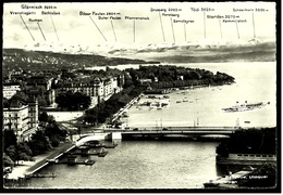 Zürich  -  Bellevue, Utoquai Und Die Glarneralpen   -  Ansichtskarte Ca.1958    (9584) - ZH Zurich