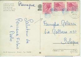 "SIRACUSANA £.40X3,TIMBRO BLU ""UFFICIO POSTALE""(sconosciuto)+GULLER  LIDO DI SAVIO(RAVENNA), VEDUTA COLORI - 1971-80: Storia Postale"