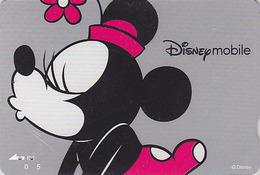 Carte Prépayée Japon - DISNEY Mobile - MINNIE MOUSE Bise Bisou Baiser Kiss - Japan Prepaid Card Quo Karte - Disney
