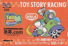 Carte Prépayée Japon - DISNEY - TOY STORY RACING / Moto - Japan Prepaid Card Quo Karte / Scach Motiv Chess - Disney