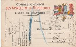 """CP FM Aux Drapeaux - Mentions """" Voie Inconnue / A """" Et """" Retour à L'Envoyeur*"""" + """"Tresor Et Postes * 6 * """" - Guerre De 1914-18"""