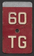 Velonummer Thurgau TG 60 - Plaques D'immatriculation