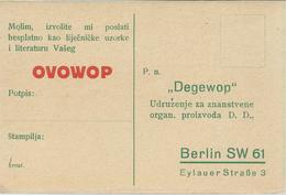 "Germany - ""Degewop"" Gesellschaft Wissenschaftlicher Organpräparate A.-G (Berlin).Serbian UNUSED Postcard - Timbres"