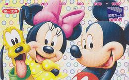 Carte Prépayée Japon - DISNEY Enterprises - MICKEY MINNIE Chien PLUTO Dog En Gros Plan - Japan Prepaid Tosho Card - Disney