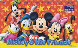 Carte Prépayée Japon - DISNEY - MICKEY MINNIE DONALD DAISY - Japan Prepaid Tosho Card / DAI ICHI Assu - Disney