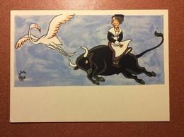 Vintage Russian Postcard 1962 Provence. Tourism Exhibition. Flying Black Buffalo Bull,  Flamingo. Woman Types Of France. - Illustrators & Photographers