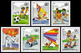 Hungary, 1985, International Youth Year, United Nations, Youth Games, MNH Perforated, Michel 3751-3757A - Hongarije