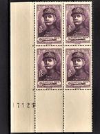FRANCE 1940 - BLOC DE 4 TP  / Y.T. N° 455 - NEUFS** COIN DE FEUILLE - France