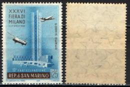 SAN MARINO - 1958 - FIERA DI MILANO - GOMMA INGIALLITA - MNH - Posta Aerea