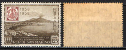 SAN MARINO - 1958 - CENTENARIO DEI PRIMI FRANCOBOLLI DEL REGNO DI NAPOLI - GOMMA IN PARTE BRUNITA - MNH - Posta Aerea