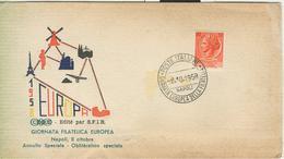 EUROPA 1958 - GIORNATA EUROPEA DELLA FILATELIA,NAPOLI,ANNULLO SPECIALE  SU BUSTA DEDICATA, - Esposizioni Filateliche