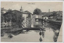 55 SORCY . La Rivière , La Barque Animée , édit : A Detrey Buraliste , Années 10 , état Extra - France
