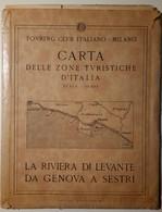 TCI - Carta Zone Turistiche - Riviera Di Levante Da Genova A Sestri - Anni 1920-30? - Touring Club - Geographical Maps
