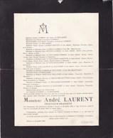 DINANT Brasseries LAURENT André LAURENT Ingénieur-brasseur 43 Ans 1929 Faire-part Mortuaire - Décès