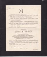 IXELLES James STERPIN Directeur Général Des Postes Belges THUIN 1848 Etterbeek 1913 Faire-part FRAPIER - Décès