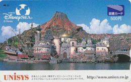 Carte Japon - DISNEY SEA - UNISYS 2 - Bateau Château Fort Rocher Pont - Japan Prepaid Tosho Card - Disney