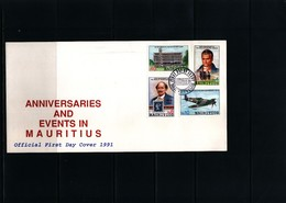 Mauritius 1991 Anniversaries And Events In Mauritius FDC - Mauritius (1968-...)