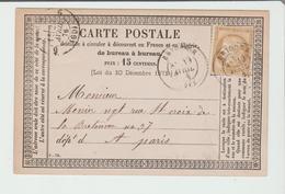 """Hte LOIRE : """" BRIOUDE """" CàD Type 17 / Cérès / Carte Précurseur De 1876 Pour Paris B - Marcophilie (Lettres)"""