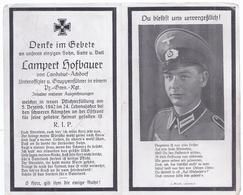 Wz-hoki-217 - Landshut Achdorf -  Sterbebild  Uffz  Lampert Hofbauer  , Gefallen  1942 - 24 Jahre - Documents Historiques
